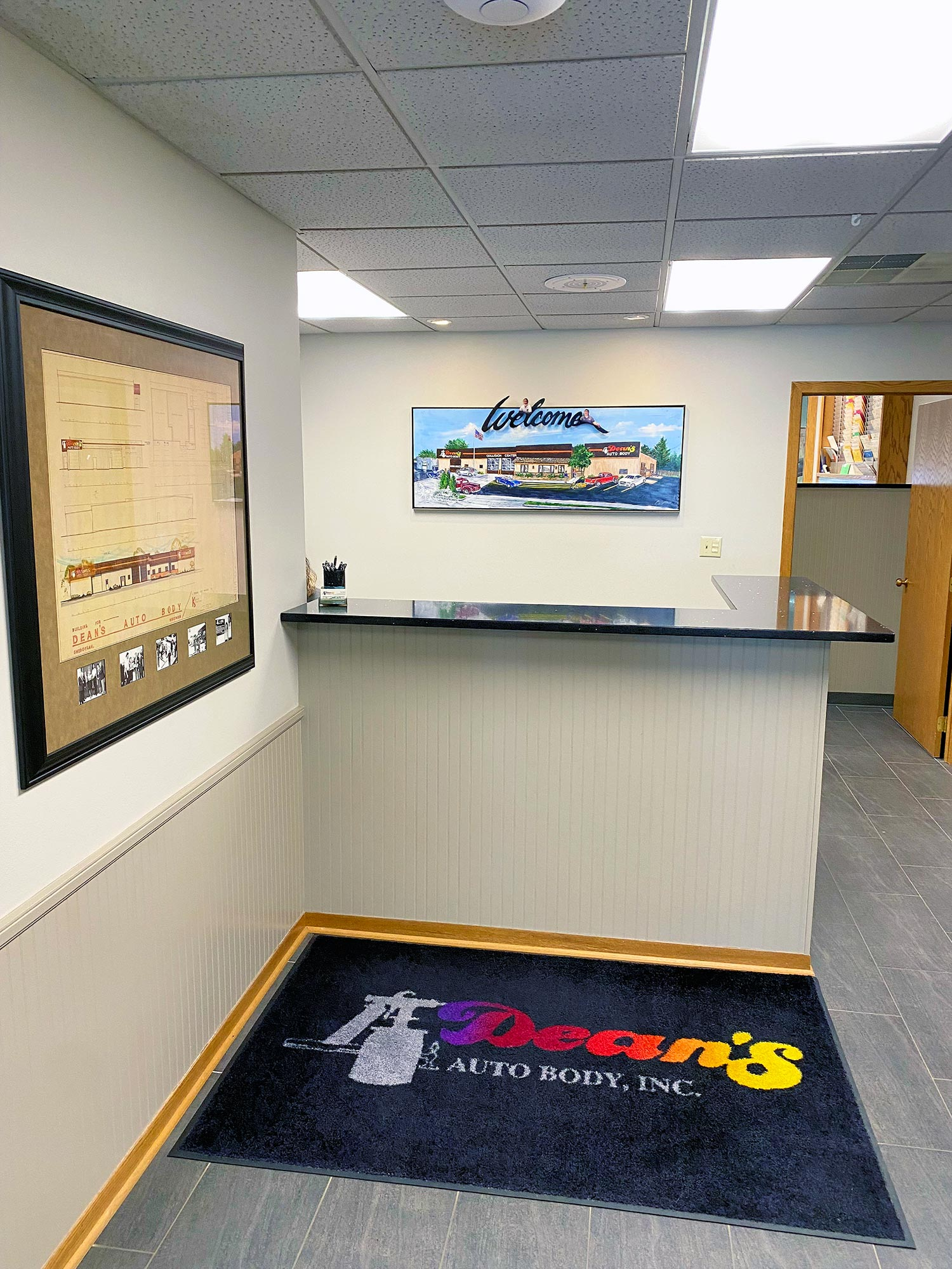 Entrance at Dean's Auto Body and Collision Center in Sheboygan, WI